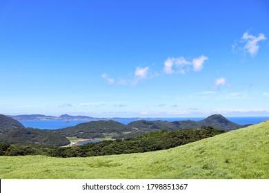 Nagasaki Prefecture in Japan. The scenery of Kawauchi Pass. The scenery of Goto Islands and Kujukushima Islands.