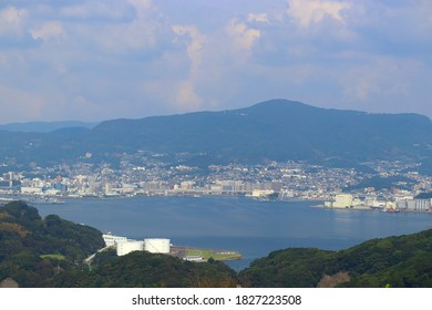 Nagasaki Prefecture in Japan. A view of goto Island from Tenkaiho Observatory.