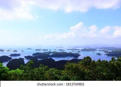 "Nagasaki Prefecture in Japan. View of Kujukujima Island and Goto Island from the ""Tenkaiho"" Observatory."