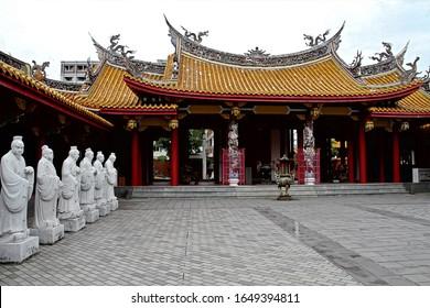 Nagasaki,Japan - May 27,2013 : 72 followers statues of Confucian temple