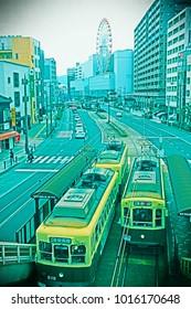 Nagasaki/Japan-Jan.01.2018- Nagasaki city railway and trum.