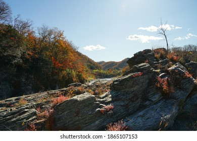 Nagatoro Cobblestone, ishidatami, and red autumn leaves are at Chichibu, saitama, Japan. Arakawa river.