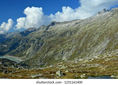The Nagelisgratli ridge above the Grimsel Pass and the Grimsel Hospice in the Bernese Alps, Switzerland