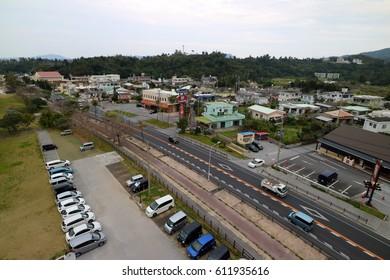 NAGO, OKINAWA, JAPAN - FEBRUARY 27, 2017 : Koki district and small village cityscape in Nago Okinawa, Japan