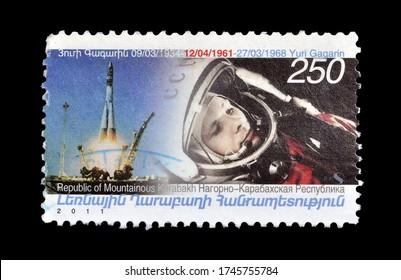 NAGORNO KARABAKH - CIRCA 2011 : Cancelled postage stamp printed by Nagorno Karabakh, that shows Astronaut Yuri Gagarin, circa 2011.