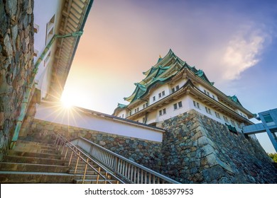 Nagoya castle and city skyline in Japan at sunset