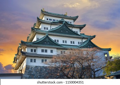 Nagoya Castle in evening sunset and twilight sky in Nagoya City, Japan.