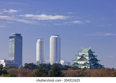 The Nagoya Castle And The High-Rise Building
