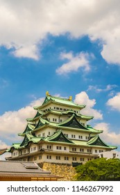 Nagoya castle in Japan during autumn fall seasons. Castle tower of Nagoya castle in Japan.was built in the beginning of the Edo Period.