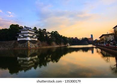 Nagoya Castle in Japan at sunset