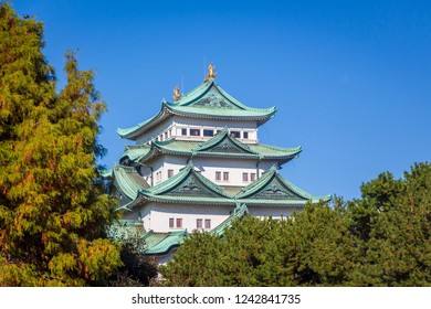 The Nagoya castle spire during autumn in Nagoya, Japan