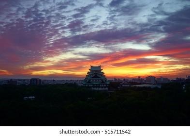 The Nagoya Castle at sunrise in Japan