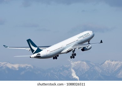 Nagoya Chubu Centrair Airport - Feb 7, 2018: Departure of Cathay Pacific, Airbus A330-300