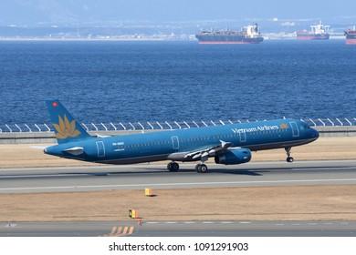 Nagoya Chubu Centrair Airport - Feb 7, 2018: Departure of Vietnam Airlines, Airbus A321-200