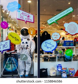 Nagoya city, Aichi Prefecture, Japan - June 24, 2016: space suit on display in a colourful vitrine of a souvenir shop next to Nagoya science museum