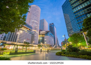 Nagoya City, Japan - November 18 ,2018 : Nagoya city skyline near JR Nagoya station at twilight