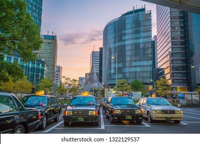 Nagoya City, Japan - November 18 ,2018 : Taxi service at JR Nagoya station at night