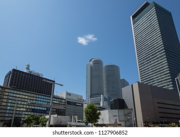 Nagoya City,Aichi/Japan-AUG 9 2017:High-rise building group in front of Nagoya station. From left: Meitetsu Nagoya Station building, Kintetsu Nagoya station building, JR Central Towers, Midland square