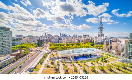 Nagoya downtown skyline in  Japan with blue sky