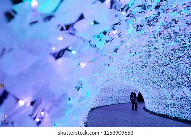 Nagoya, Japan. 10 Dec, 2018 : Nabana no Sato garden at night in winter. Light Illumination Tunnel