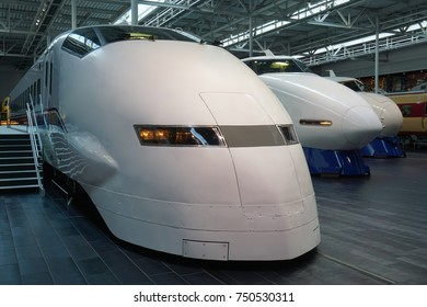 NAGOYA, JAPAN -11 OCT 2016- Full-size Japanese trains on display at the JR SCMaglev and Railway Park, a train museum located in Nagoya, Japan.