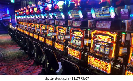 NAGOYA JAPAN 2018 february 6 :  View of slot machines inside a pachinko and slot center in Nagoya City.