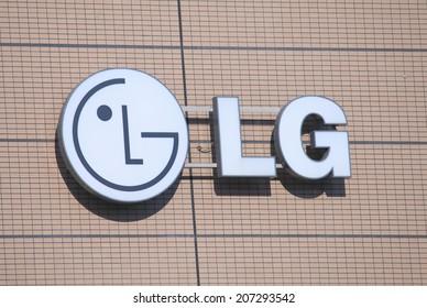 NAGOYA JAPAN - 31 MAY, 2014:LG company logo. LG is a South Korean multinational electronics company headquartered in Seoul.