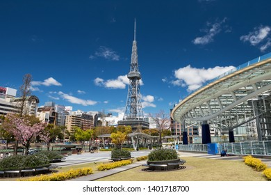 Nagoya, Japan - April 11, 2019:  urban view of Oasis21, Nagoya TV tower from Odori park with pink sakura or cherry blossom at Sakae district. Famous travel and shopping destination in Aichi, Chubu.
