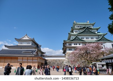 NAGOYA, JAPAN - APRIL 15, 2019: Nagoya Castle in spring. Many people visit to Nagoya castle in beautiful day of spring season, Nagoya, Japan