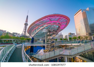Nagoya, Japan - April 18, 2018 : Nagoya TV tower and Oasis 21 in downtown Nagoya. They are  landmarks of the city
