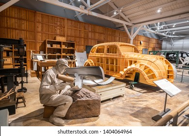 Nagoya, Japan - April 2, 2019 Automobile Pavilion in Toyota Commemorative Museum of Industry and Technology Nagoya city
