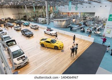 Nagoya, Japan - April 2, 2019 Automobile Pavilion in Toyota Commemorative Museum of Industry and Technology Nagoya city