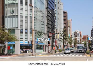 NAGOYA, JAPAN - APRIL 28, 2012: Street view in downtown Nagoya, Japan. With almost 9 million people Nagoya is the 3rd largest metropolitan area in Japan.