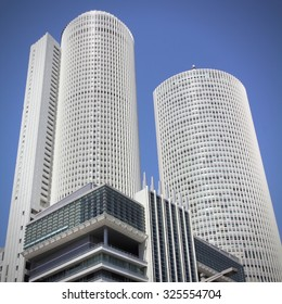 NAGOYA, JAPAN - APRIL 28, 2012: JR Central Towers of Nagoya Station in Japan. Nagoya Station is the largest station building in the world by floor space.