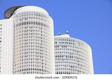 NAGOYA, JAPAN - APRIL 28, 2012: JR Central Towers building in Nagoya, Japan. It is the headquarters of Central Japan Railway Company and is the 8th tallest building in Japan.