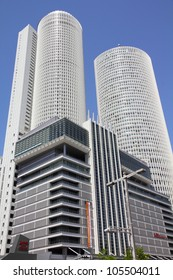NAGOYA, JAPAN - APRIL 28: JR Central Towers, Marriott and Takashimaya buildings on April 28, 2012 in Nagoya, Japan. Nagoya Station is the largest station building in the world by floor space.