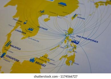 Nagoya, Japan - Dec 24, 2015. Macro shot on globe map for travel blogs, social media in Nagoya, Japan.