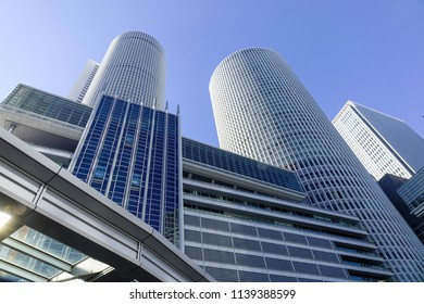 Nagoya, Japan - Dec 3, 2016. Modern buildings located at business district in Nagoya, Japan. Nagoya is the largest city in the Chubu region.