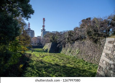 Nagoya, Japan - December 2018 : area of Nagoya Castle in winter. Famous castle in Japan with green roof.  Located in 1-1 Hommaru, Naka, Nagoya, Aichi Prefecture, Japan.