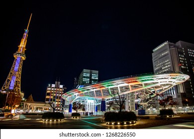 Nagoya, Japan - December 2018 : Building name Oasis 21 public park area with Nagoya TV sky at Odori park, Nagoya, Japan.  One of the best sightseeing and landmark in Sakae, Nagoya city.