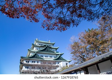 Nagoya, Japan - December 2018 : Nagoya Castle in winter. Famous castle in Japan with green roof. Located in 1-1 Hommaru, Naka, Nagoya, Aichi Prefecture, Japan. This castle was reconstructed in 1959.