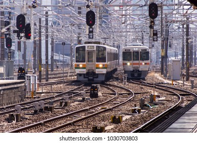 NAGOYA, JAPAN - FEBRUARY 9, 2018: The japan local train coming to platform at Nagoya Station, Nagoya Station is a major and largest railway station.