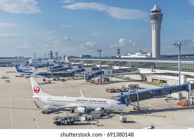 NAGOYA, JAPAN - JUNE 08, 2017 : Aircrafts at Chubu Centrair International Airport.