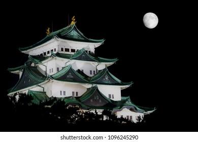 NAGOYA, JAPAN –  JUNE 17, 2013: Nagoya Castle lit at night.