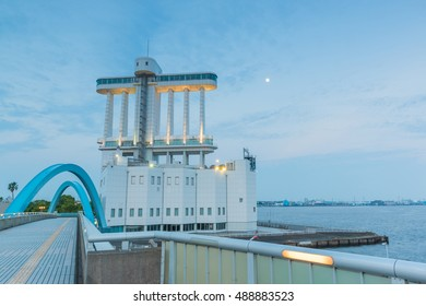NAGOYA, JAPAN - JUNE 18 2016: The Port of Nagoya, located in Ise Bay, is the largest and busiest trading port in Japan, accounting for about 10% of the total trade value of Japan.