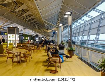 Nagoya, Japan - Mar 19, 2018. Interior of waiting room at Nagoya Chubu Centrair Airport (NGO) in Nagoya, Japan.