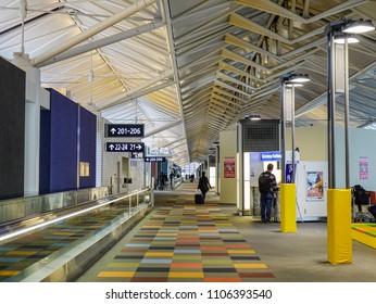 Nagoya, Japan - Mar 19, 2018. Interior of Chubu Centrair Airport (NGO) in Nagoya, Japan. Chubu Centrair is one of Japan five off-shore airports.