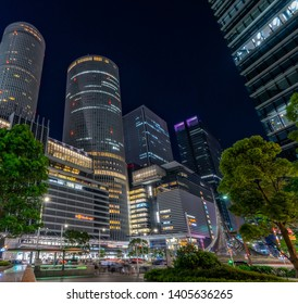 Nagoya, Japan - May 11, 2019: JR Central Towers, Nagoya station and JR Gate Tower at night time.