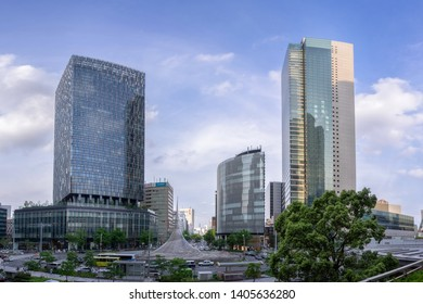 Nagoya, Japan - May 13, 2019: Cityscape of JR Central Towers, Nagoya station and JR Gate Tower in Nagoya, Japan.