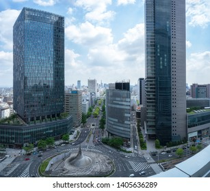 Nagoya, Japan - May 13, 2019: Cityscape of JR Central Towers, the buildings are located at JR Nagoya Station, Japan.